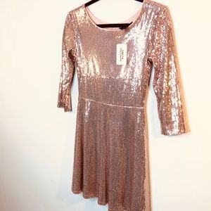 Forever 21 Blush Pink/ Rose Gold Sequin Dress